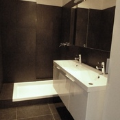 9. After - bath and bidet replaced by shower - Blue stone on walls and ground